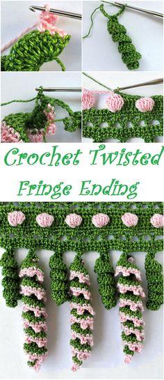 Crochet twisted fringe ending