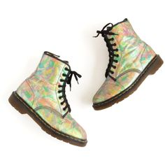 Dr Martens Pastel Goth Glitter Boots Abstract Print Vegan Boots Fabric... ($110) ❤ liked on Polyvore featuring men's fashion, men's shoes, men's boots, mens fur lined boots, mens goth boots, vegan mens shoes, mens gothic shoes and mens vintage boots