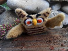 Needle Felted Owl Ornament Animal Felted Owl Wool by FuzzyNature, $18.00