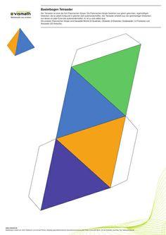 Platonic Solid: tetradron of four triangles. Bastelbogen