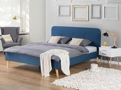 Beliani - Super King Size Bed - Upholstered - Rennes - Blue - £439