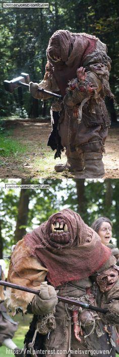 Brynn the troll, a larp troll costume.