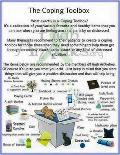 What i tend to keep around me at home anyhow. Coping Toolbox Infographic for Anxiety / Stress , etc. Therapy Tools, Art Therapy, Play Therapy, Speech Therapy, Therapy Ideas, Trauma, Ptsd, Quotes Thoughts, True Quotes