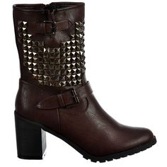 Onlineshoe Women's Biker Studded Block Heel Ankle Boots - Brown >>> See this great product.