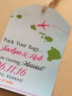 Hawaiian island luggage tag save the date!