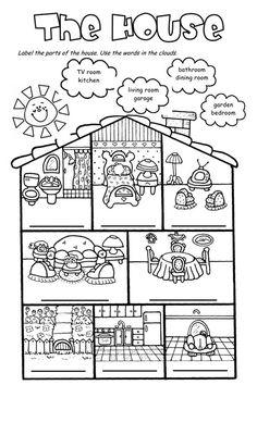 English teaching worksheets: The house English Primary School, Kids English, English Class, English Lessons, Teaching English, Learn English, Vocabulary Worksheets, School Worksheets, Worksheets For Kids