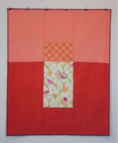 mūsu quilts - Birds in apricot. Shot cotton and Liberty of London.
