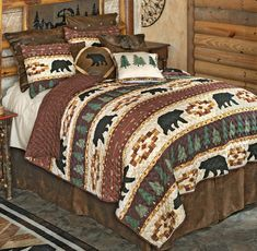 A Black Forest Décor Exclusive - Bands of pine trees and bears highlight this lightweight microfiber polyester bedding with geometric accents and reverse. 100% cotton back with poly fill. Sets include oversized quilt and two shams (twin has one; king has king shams). Machine wash. Black Bear Decor, Black Forest Decor, Quilt Bedding, Bedding Sets, Quilt Sets Queen, Rustic Bedding, Western Decor, Rustic Decor, Blanket Cover