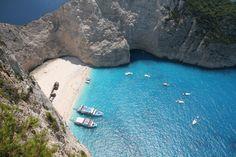 Navagio beach in Zakynthos island, Greece. Stuff To Do, Things To Do, Zakynthos Greece, Places In Greece, Travel Advice, River, Island, Beach, Outdoor Decor