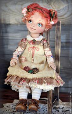 Купить Фея Пуговка, текстильная кукла - коричневый, рыжий, кофейный, авторская кукла, кукла в подарок