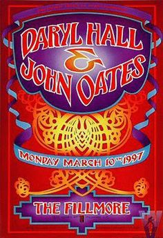 """Original concert poster for Daryl Hall & John Oates at the Fillmore in San Francisco, CA. 13""""x19"""" on card stock. Art by Randy Tuten. F257"""