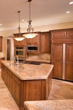 A uniquely shaped kitchen island! You are in the right place about kitchen island Here we offer you Kitchen Cabinet Sizes, Frameless Kitchen Cabinets, Maple Kitchen Cabinets, Kitchen Cabinet Design, Kitchen Redo, Kitchen Countertops, New Kitchen, Kitchen Backsplash, Kitchen Ideas