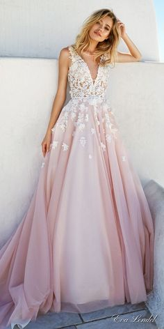 eva lendel 2017 bridal sleeves deep v neck heavily embellished bodice romantic pretty pink color a  line wedding dress keyhole back royal train (britany) mv