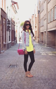 Leggings, denim jacket, neon blouse