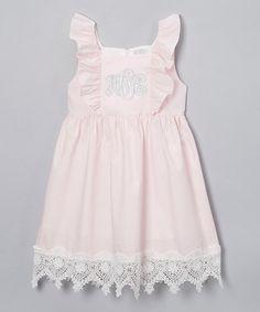 Pink Monogram Angel-Sleeve Dress - Infant, Toddler & Girls