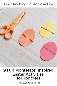 9 Fun Montessori Inspired Easter Activities for Toddlers 9 Month Old Baby Activities, Easter Activities For Toddlers, Infant Activities, Cutting Activities, Montessori Activities, Montessori Homeschool, Toddler Play, Kids Learning, Fun