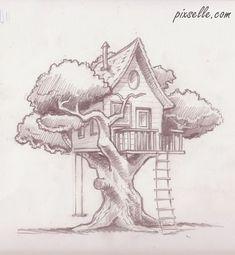 Ideas Art Dessin Arbre For 2019 Pencil Art Drawings, Art Drawings Sketches, Easy Drawings, Amazing Drawings, Horse Drawings, Dress Sketches, Animal Drawings, Tree House Drawing, Tree Drawing Simple