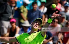 Kyle Edmund of Britain serves to Richard Gasquet of France during their 2016 US…