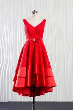 eb5fd36da4b Chic V Neck Layered Lace Satin High Low Prom Dress With Bow Sash. Short  Country Wedding DressRed ...
