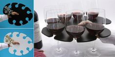 Yup, this is cool.  A try that's built to hold your wine glasses -- no more tipping over!