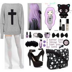 """The Pastel Goth"" by naibee17 on Polyvore. Instead of the stockings, I'd do a pair of cute leggings."