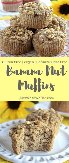 Banana Nut Muffins ~ These gluten free, vegan, and refined sugar free banana nut muffins are super easy to put together and have that delicious banana bread flavor that I wanted. I also love that they are made with almond flour and oat flour making them a healthier muffin option.