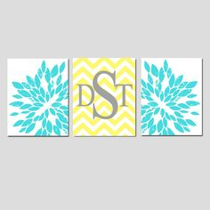 Tween Girl Bedroom Decor Nursery Art Trio - Abstract Floral Chevron Monogram Initial - Set of Three 11x14 Prints - CHOOSE YOUR COLORS