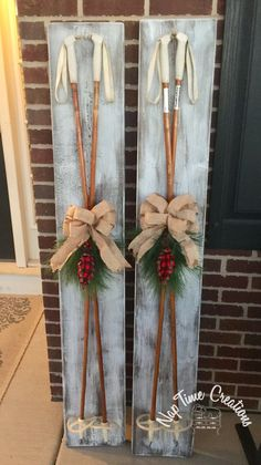 Vintage wood ski poles, perfect winter decor for the porch!