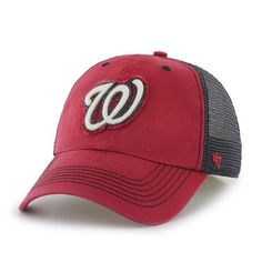 a86ecf162fe Washington Nationals 47 Brand Red Navy Taylor Closer Mesh Stretch Fit Hat  Cap