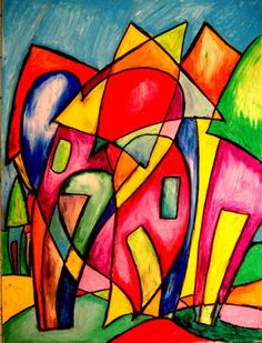 Art: Hearts and Houses by Artist Chris Jeanguenat