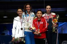 FIE GP La Havana 2016 podium: Gold Arianna ERRIGO (ITA), Silver Lee KIEFER (USA), Bronze Hyunhee NAM (KOR) and Diana YAKOVLEVA (RUS) (Photo: Serge TIMACHEFF)