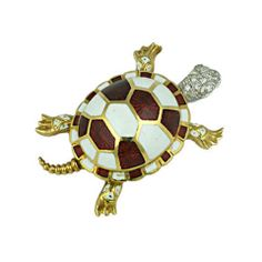 18K Diamond and Enamel Turtle