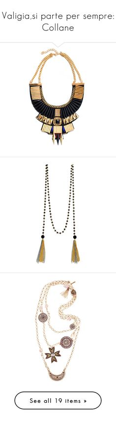 """""""Valigia,si parte per sempre: Collane"""" by piccolauby ❤ liked on Polyvore featuring jewelry, necklaces, colares, accessories, black, statement necklaces, aztec jewelry, tribal jewellery, wrap necklace and bib statement necklace"""