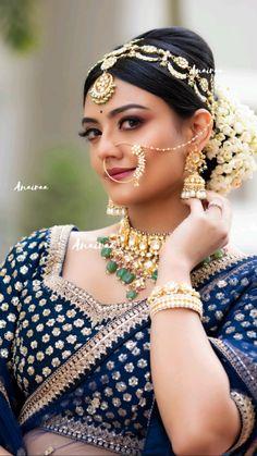 Indian Bride Poses, Indian Bridal Photos, Indian Wedding Bride, Wedding Jewelry For Bride, Indian Bridal Makeup, Indian Bridal Outfits, Indian Bridal Fashion, South Indian Bride, Hair Wedding