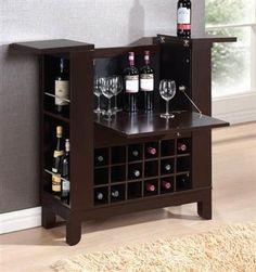 Nelson Wenge Wood Wine Cabinet W/Open Storage
