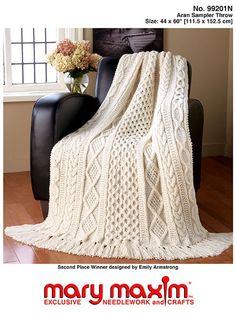 Mary Maxim - Aran Sampler Throw - Aran Irish Tweed yarn - Knit & Crochet~~~for Bryan and Brooke? Cable Knitting Patterns, Knitting Kits, Afghan Crochet Patterns, Knitting Yarn, Knitted Afghans, Knitted Baby Blankets, Knitted Blankets, Crochet Bedspread, Knit Crochet