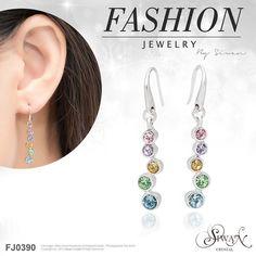 FJ0390 Dangle earrings with multi-colour crystals