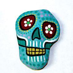Light Blue Dia De Los Muertos Skull Paperweight by TangosCorner, $25.00