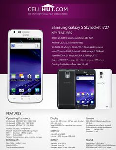 Samsung Galaxy S II Skyrocket or AT&T Samsung smartphone boasts a GHz dual-core processor and Android (Gingerbread) operating system. Product Brochure, Thing 1, Samsung Galaxy S, Black, Black People