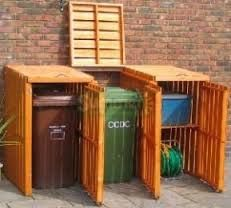 Image result for diy pallet cover for outdoor garbage bins