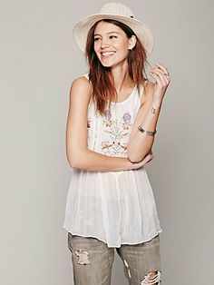 Free People Embroidered in the Free World Top