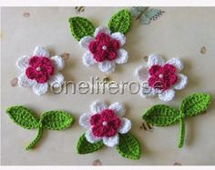Crochet Flowers set 12 pieces with 12 leaves by OnelifeRosen