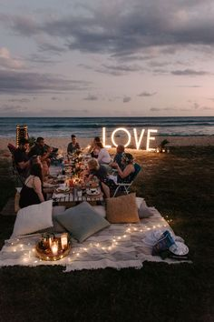 Love wedding sign at night picnic - Aloha Picnics Puuloa Beach Park Hawaii Vow Renewal By Oahu Wedding Photographer Desiree Leilani Beach Dinner, Beach Night, Beach Picnic, Night Beach Weddings, Beach Bbq, Ocean Beach, Night Picnic, Picnic Birthday, Beach Bonfire