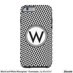 Black and White Monogram - Customize it Tough iPhone 6 Case