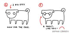 DIY :: How to draw a Pug in 9 easy steps :: Gemma Correll and her merry band of misfits.