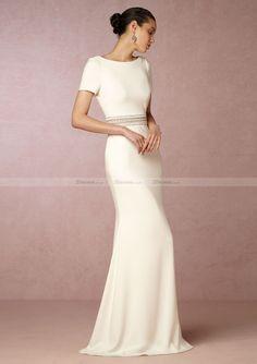 Jersey Long/Floor-Length Sheath/Column Short Sleeve Bateau Zipper Wedding Dress With Beaded