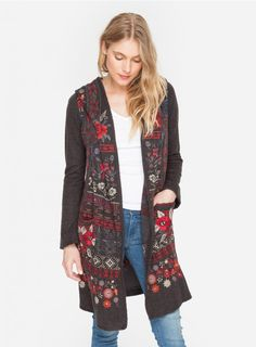 Esperanza Long Hoodie Like a beautiful bouquet of blooms, the Biya ESPERANZA LONG HOODIE is a fresh, colorful statement for fall. Our knitted hoodie, in a go-anywhere neutral shade, features an artisanally-inspired embroidery so striking and pretty, you'll put this cosy coverup on heavy rotation in your wardrobe.  —Cotton/Acrylic/Wool blend —Two pockets at hip —Attached hoodie —Signature Embroidery —Care instructions: Dry clean suggested