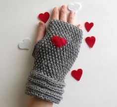 Grey Warm  Heart Fingerless Gloves  Wrist by knittingshop on Etsy, $22.00