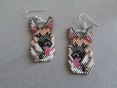 Reserved for Pam L. Beaded German Shepherd by DsBeadedCrochetedEtc, Seed Bead Patterns, Jewelry Patterns, Beading Patterns, Seed Bead Earrings, Beaded Earrings, Beaded Jewelry, Blue Earrings, Motifs Perler, Beadwork Designs