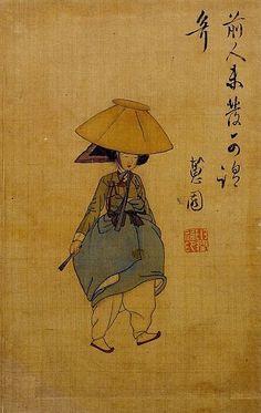 Korean Woman with a Red Hat - jeonmo.  by Shin Yun-bok (Yeosokdo Album) ca. 1800
